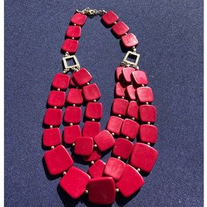 Vintage red lucite and rhinestone necklace